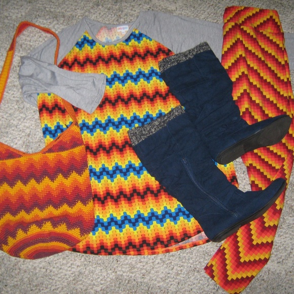 LuLaRoe Pants - LuLaRoe Red Orange Yellow Blue 5 Piece Set 3XL TC
